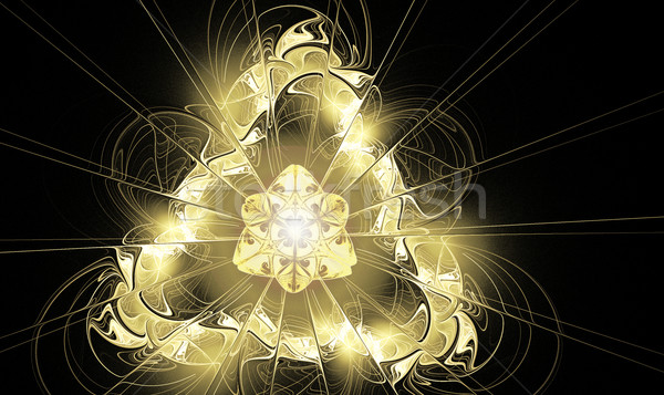 illustration background fractal glowing golden triangle with ray Stock photo © yurkina