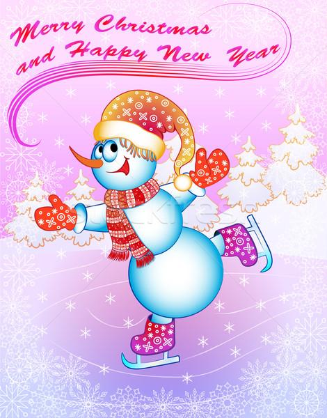 Illustration Schnee Mann Schlittschuhe Glückwünsche Sport Stock foto © yurkina