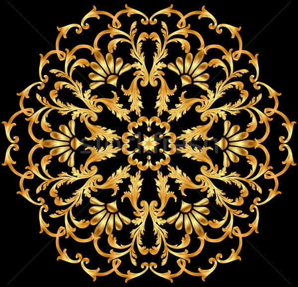 Ilustración circular oro adornos resumen marco Foto stock © yurkina