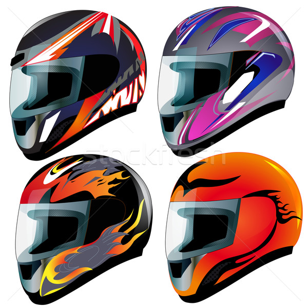 set  send racing red insulated on white background  Stock photo © yurkina