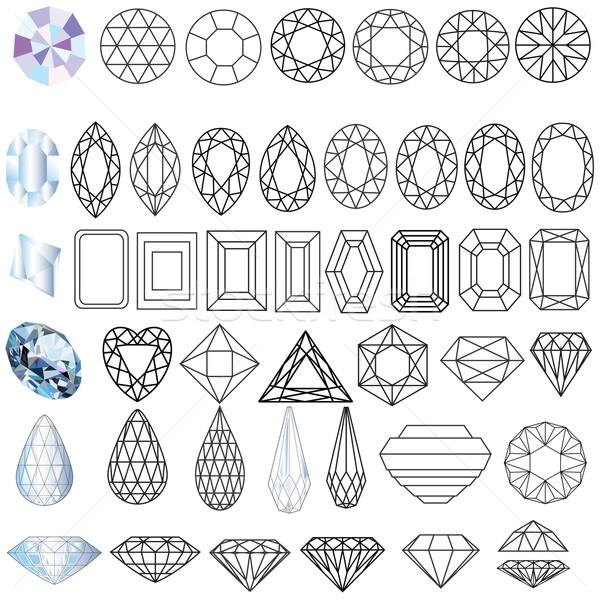 cut precious gem stones set of forms Stock photo © yurkina