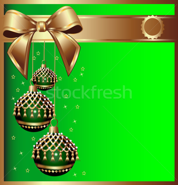 background with bow on cristmas and ball with tassel Stock photo © yurkina