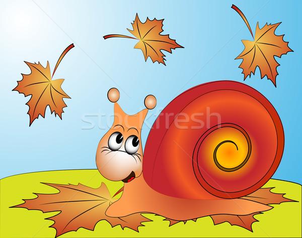 забавный улитки лист осень иллюстрация лице Сток-фото © yurkina