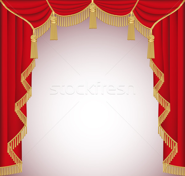 background with red velvet curtain with tassels Stock photo © yurkina