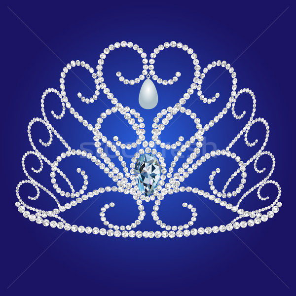 diadem feminine wedding on we turn blue background Stock photo © yurkina