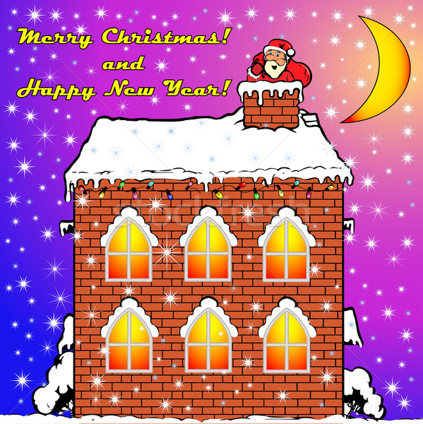 Santa Claus on a house roof вылазит from a pipe flue Stock photo © yurkina