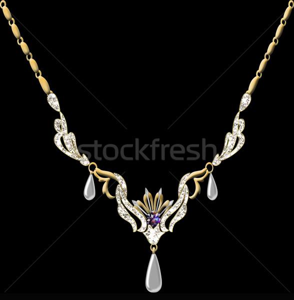illustration wedding pendant necklace on chain Stock photo © yurkina