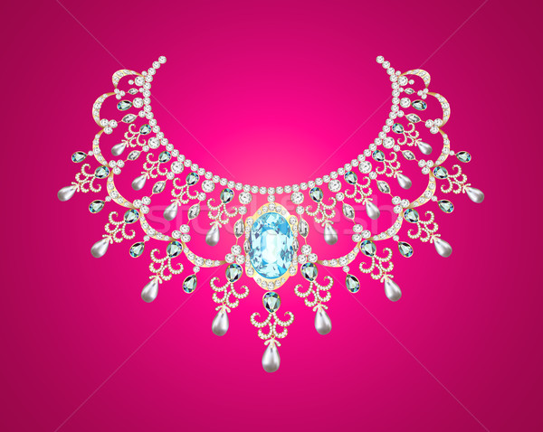 Kobieta perła naszyjnik różowy ilustracja moda Zdjęcia stock © yurkina