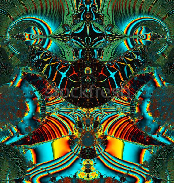 Fractal illustration cosmique grenouille coloré naturelles Photo stock © yurkina