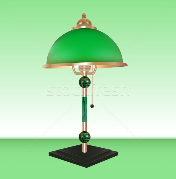 Vector table lamp bronze glass green shade Stock photo © yurkina