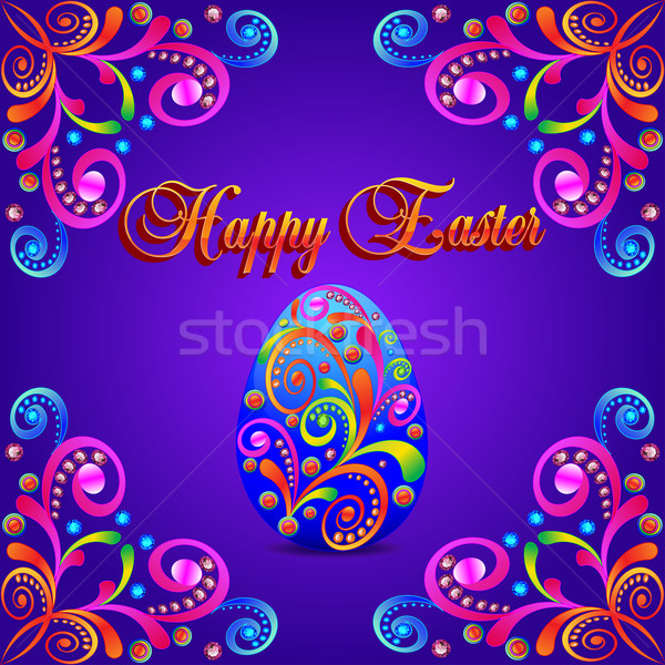 card for Easter eggs with ornament and precious stones Stock photo © yurkina