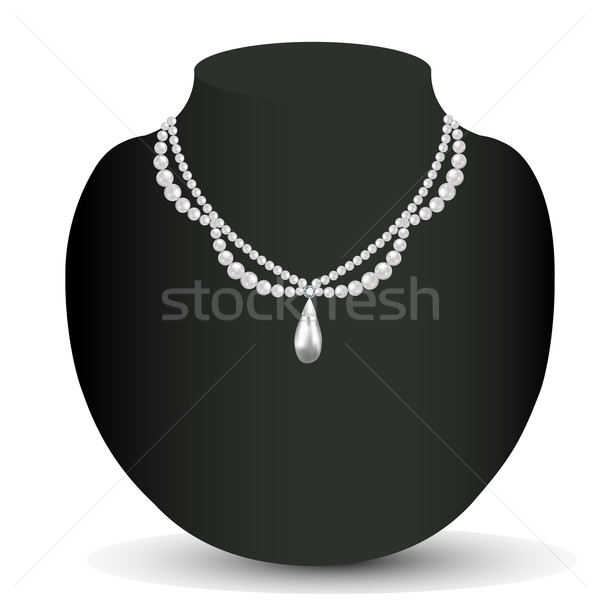 illustration of woman's necklace with pearls and precious stones Stock photo © yurkina