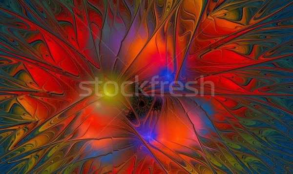 Foto stock: Fractal · abstrato · colorido · flor · mosaico · ilustração