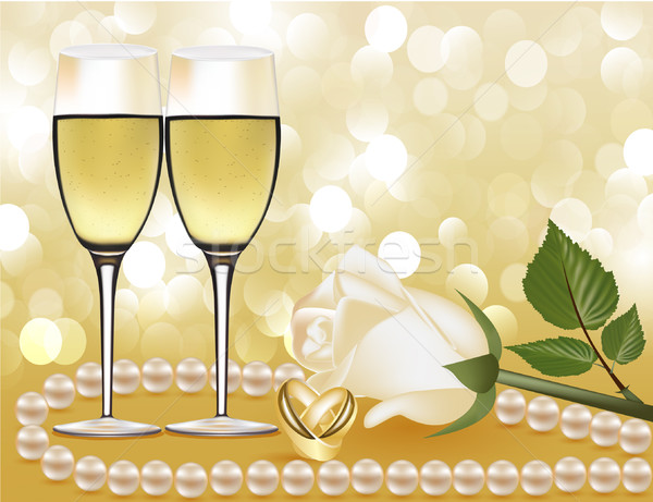 wedding background with rose by pearl, goblet and ring Stock photo © yurkina