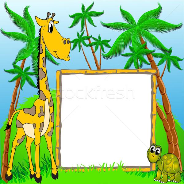 background giraffe and terrapin on background of the palms Stock photo © yurkina