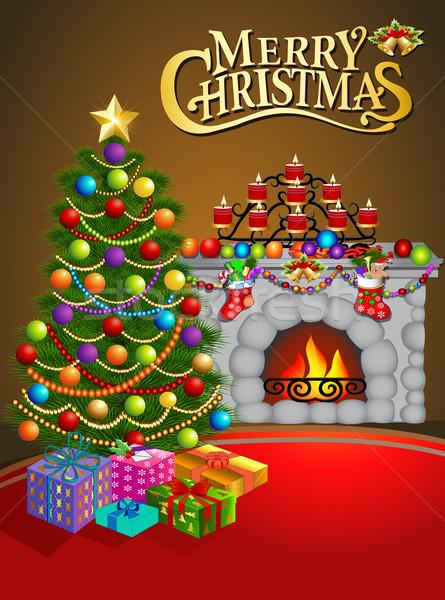 Illusztráció karácsony üdvözlőlap gyertyák karácsonyfa kandalló Stock fotó © yurkina