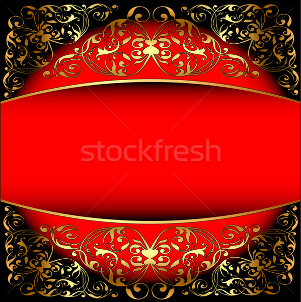red background a frame with a gold pattern Stock photo © yurkina