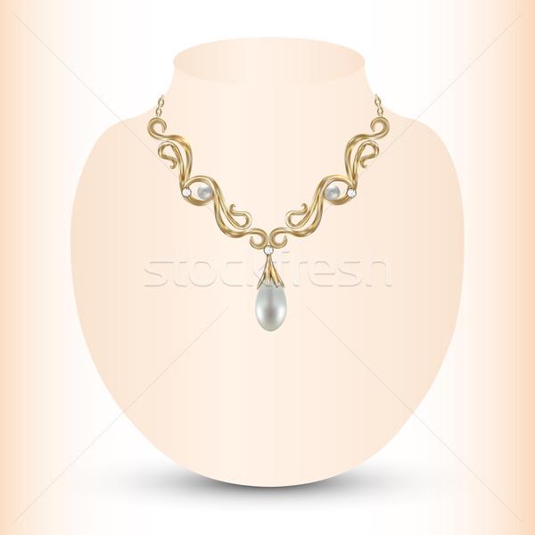 женский ожерелье Pearl иллюстрация свадьба Сток-фото © yurkina