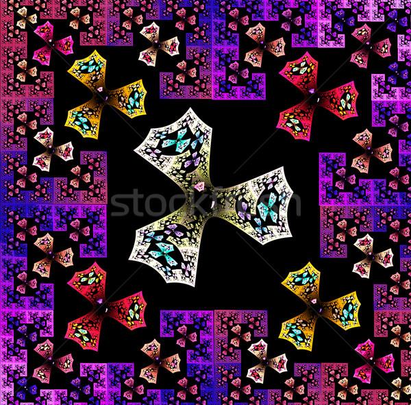 Fractal ilustração brilhante tapete geométrico projeto Foto stock © yurkina