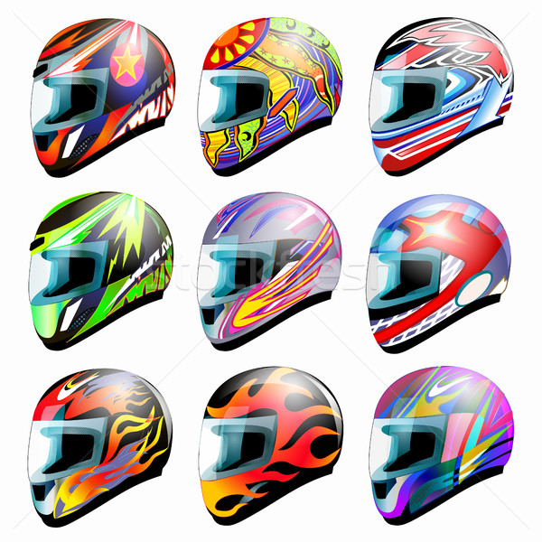 Set of vector racing helmet isolated on white Stock photo © yurkina