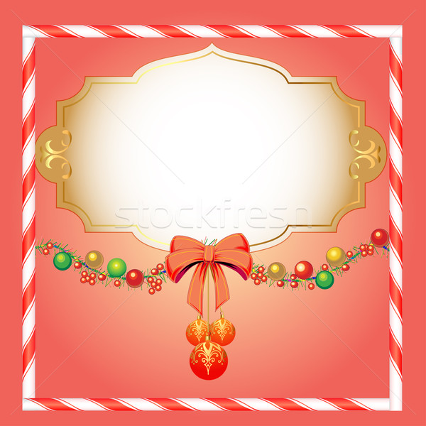 background Christmas with spheres and tinsel for the invitation Stock photo © yurkina