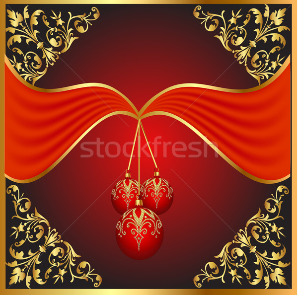 background with ball on cristmas and gold pattern Stock photo © yurkina