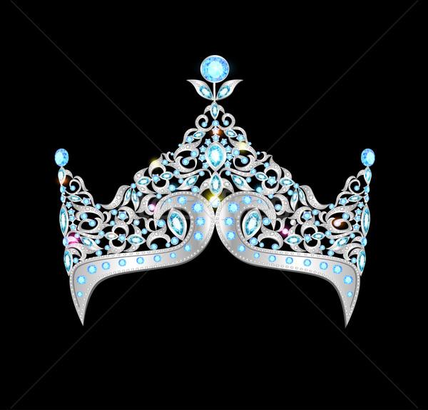 Nők ezüst korona fekete illusztráció divat Stock fotó © yurkina