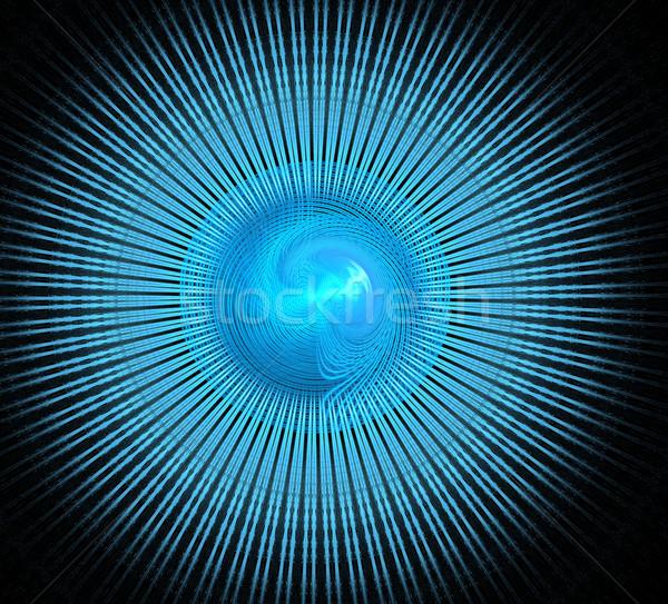 Illusztráció fraktál kék spirál kör sugarak Stock fotó © yurkina