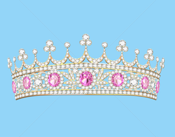 Stock photo: illustration women's gold diadem tiara with precious stones