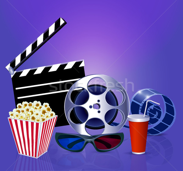 Illustration background while a movie with popcorn, glasses, fil Stock photo © yurkina