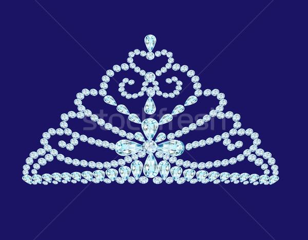feminine wedding diadem crown on blue Stock photo © yurkina
