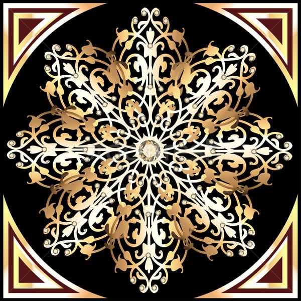 Goud sneeuwvlokken juwelen illustratie ontwerp Stockfoto © yurkina