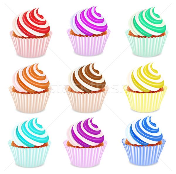 set of cupcakes with fruit cream Stock photo © yurkina