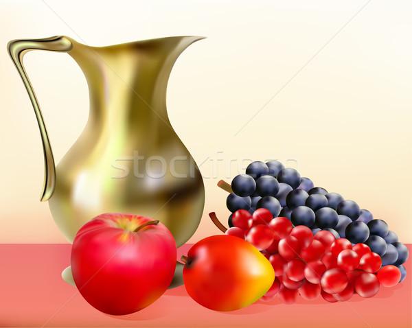 Ancora vita brocca mela uve illustrazione Foto d'archivio © yurkina