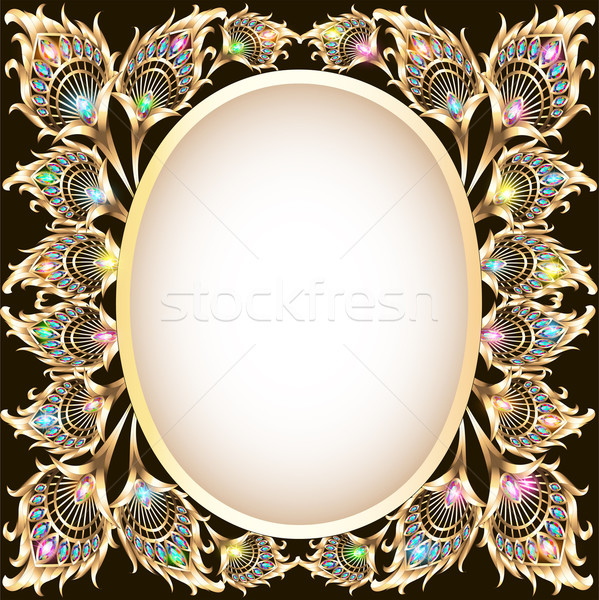 Frame goud ornament vorm pauw illustratie Stockfoto © yurkina
