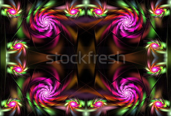 иллюстрация фрактальный ярко цветы атласных книга Сток-фото © yurkina