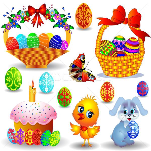 Szett gyertya kosár színes tojás tyúk illusztráció Stock fotó © yurkina