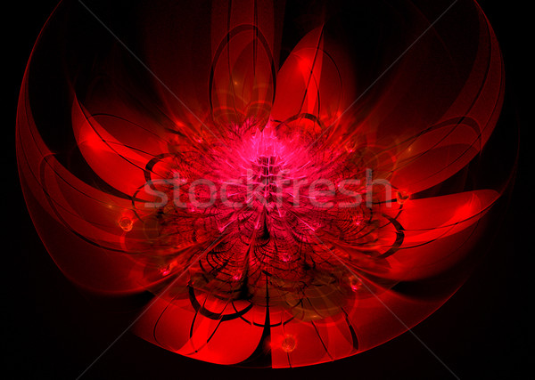 Fractal Illustration red flower with large leaves Stock photo © yurkina
