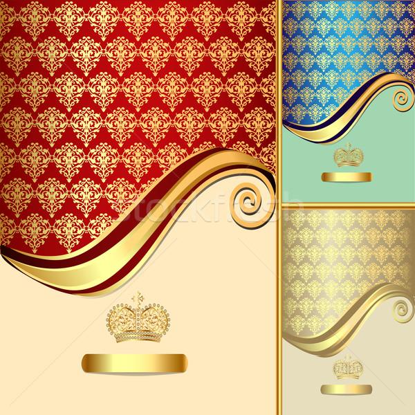 Ingesteld gouden patroon kroon illustratie blad Stockfoto © yurkina