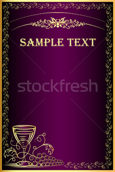 background with gold(en) grape and goblet for menu Stock photo © yurkina