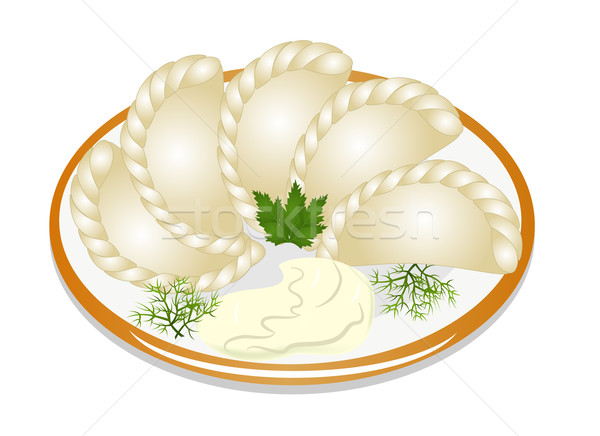 dumplings with sour cream on the plate Stock photo © yurkina