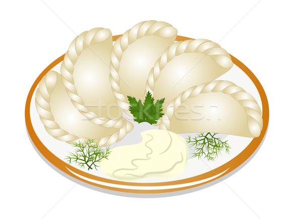 サワークリーム プレート 実例 食品 クリーム 文化 ストックフォト © yurkina