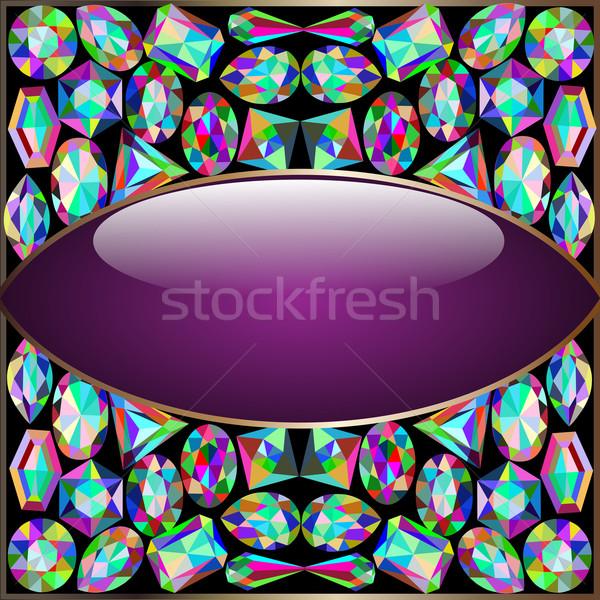 кадр драгоценный камней иллюстрация синий каменные Сток-фото © yurkina