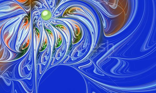 Fraktál absztrakt virág vonal copy space illusztráció Stock fotó © yurkina