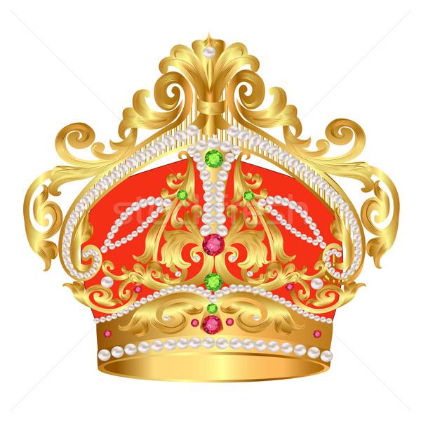 tsarist gold corona with pearl and pattern Stock photo © yurkina