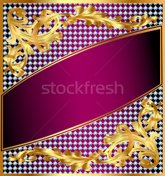 background frame with gold ornaments and precious stones Stock photo © yurkina