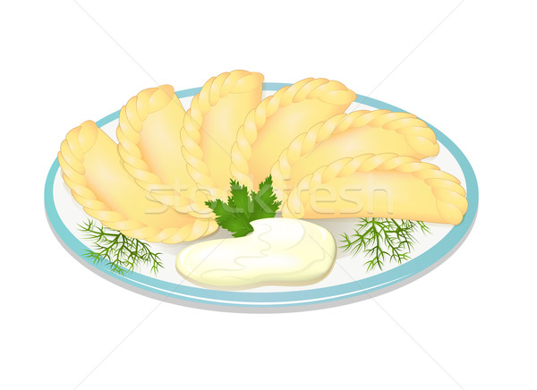 illustration dumplings with sour cream on the plate Stock photo © yurkina