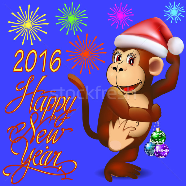Stock photo: illustration holiday card with a dancing monkey and fireworks