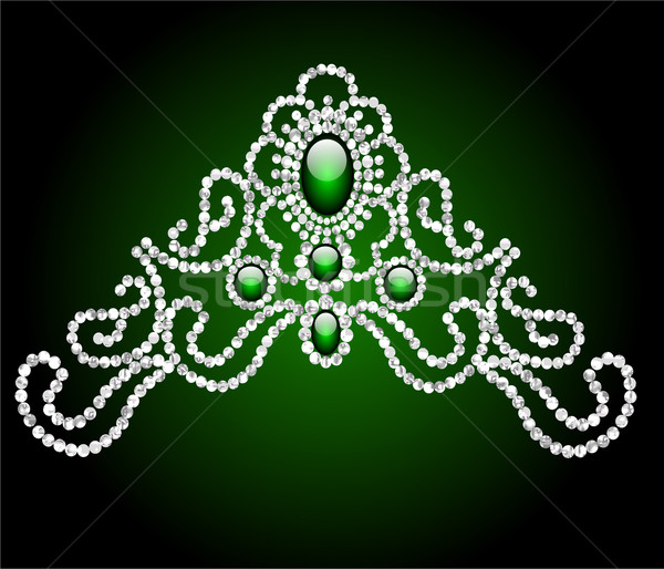wedding feminine diadem with green stone Stock photo © yurkina