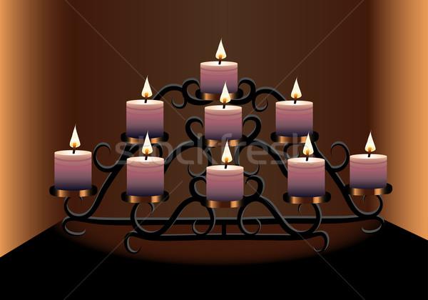 Vecchio lampadario candele illustrazione design pittura Foto d'archivio © yurkina